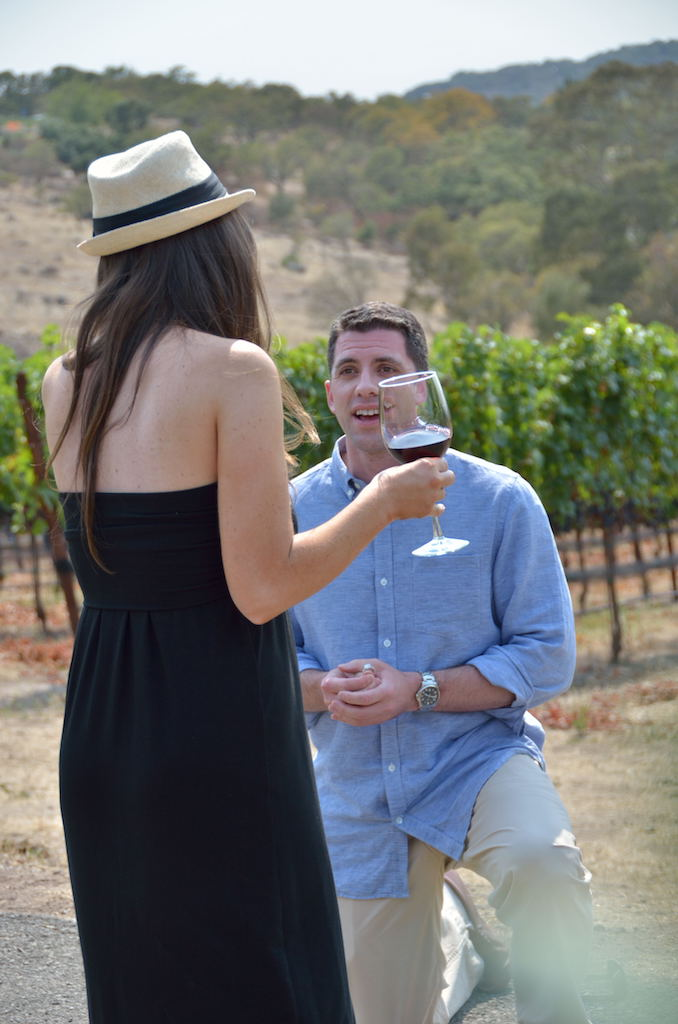 Man Proposing in Vineyard