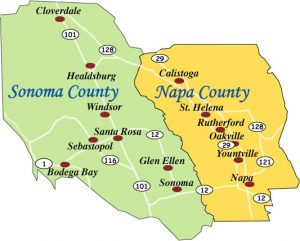 Map of Sonoma & Napa Counties